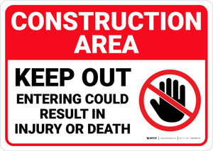 Construction Area Keep Out with Icon Landscape - Wall Sign