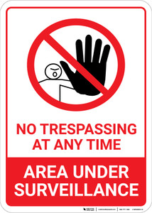 No Trespassing Area Under Surveillance with Icon Portrait - Wall Sign