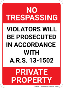 No Trespassing Private Property Arizona Portrait - Wall Sign