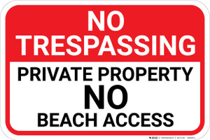 No Trespassing Private Property No Beach Access Landscape - Wall Sign