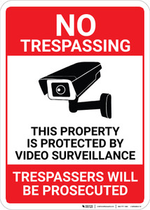 No Trespassing Property Protected By Video Surveillance with Icon Portrait - Wall Sign