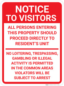 Notice To Visitors No Trespassing Portrait - Wall Sign