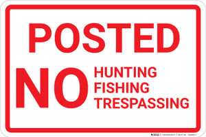 Posted No Hunting Fishing Trespassing Red and White Landscape - Wall Sign