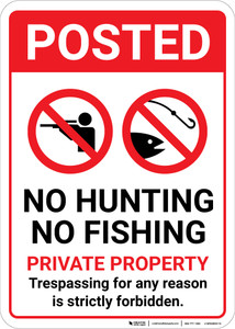 Posted No Hunting No Fishing Private Property with Icons Portrait - Wall Sign