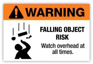 Warning - Falling Object Risk Label