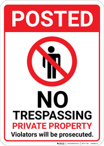 Posted No Trespassing Private Property with Icon Portrait - Wall Sign