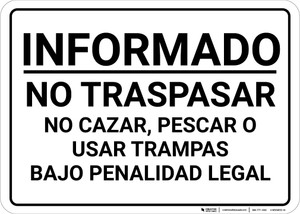 Posted Private Property No Hunting Spanish Landscape - Wall Sign