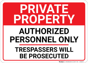 Private Property Authorized Personnel Only Landscape - Wall Sign