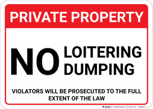 Private Property No Loitering Dumping Landscape - Wall Sign