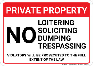 Private Property No Loitering Soliciting Dumping Trespassing Landscape - Wall Sign