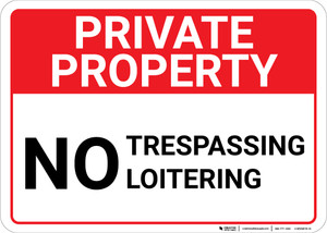 Private Property No Trespassing Loitering Landscape - Wall Sign