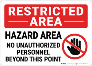 Restricted Area No Unauthorized Personnel with Icon Landscape - Wall Sign