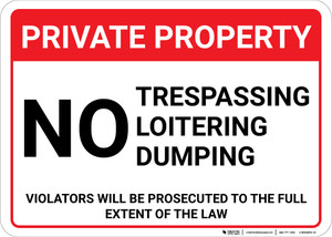 Private Property: No Trespassing Loitering Dumping Violators Prosecuted Landscape - Wall Sign