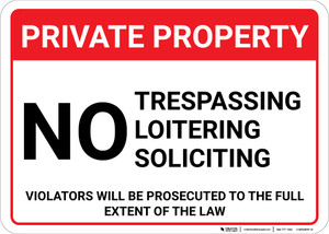 Private Property: No Trespassing Loitering Soliciting Violators Prosecuted Landscape - Wall Sign