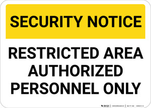 Security Notice: Restricted Area Authorized Personnel Only Landscape - Wall Sign