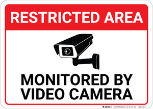 Restricted Area: Restricted Area Monitored By Video Camera Icon Landscape - Wall Sign