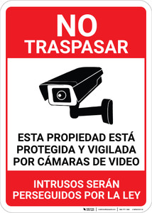 No Trespassing: This Property Is Protected By Video Surveillance Alarm In Use Video Camera Icon Spanish Portrait - Wall Sign