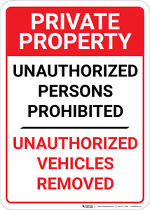 Private Property: Unauthorized Persons Prohibited Vehicles Removed  - Wall Sign
