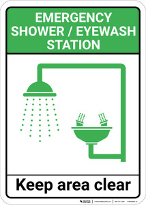 Emergency Shower/Eyewash Station: Shower Eye Wash Keep Clear Shower and Eye Wash Station Icon Portrait - Wall Sign