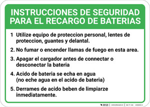 Battery Charging Safety Checklist: Five Item Numbered Checklist Spanish Landscape - Wall Sign