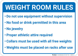 Weight Room Rules: Six Item Bulleted Rule List Landscape - Wall Sign