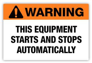 Warning - Starts Automatically Label