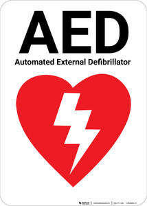 AED Authomated External Defibrillator with Icon Portrait - Wall Sign