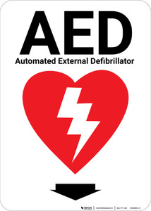 AED with Icon Yellow Portrait - Wall Sign
