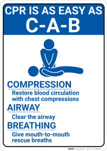 CPR Instructions with Icon Portrait - Wall Sign