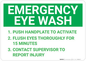 Emergency Eye Wash Instructions Landscape - Wall Sign