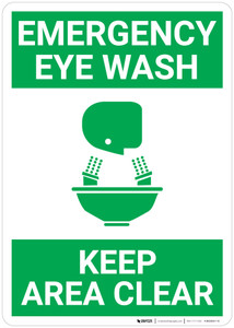 Emergency Eyewash Keep Area Clear with Icon Green Portrait - Wall Sign