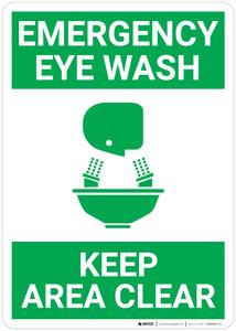 Emergency Eyewash Keep Area Clear with Icon Green Portrait - Wall Sign