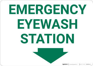 Emergency Eyewash Station With Arrow Landscape - Wall Sign