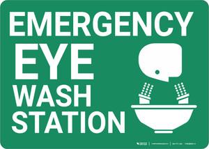 Emergency Eyewash Station with Icon Landscape - Wall Sign