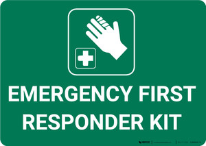 Emergency First Responder Kit with Icon Landscape - Wall Sign