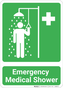 Emergency Medical Shower with Icons Portrait - Wall Sign