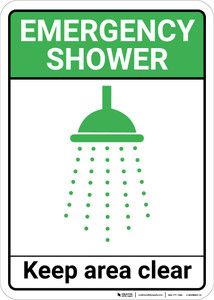 Emergency Shower Keep Area Clear with Icon Portrait - Wall Sign