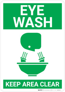Eye Wash Keep Area Clear with Icon Portrait - Wall Sign
