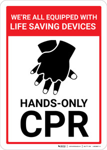 Hands Only CPR with Icon Portrait - Wall Sign