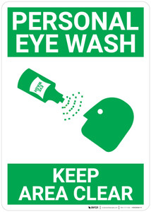 Personal Eye Wash Keep Area Clear with Icon Portrait - Wall Sign