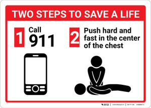 Two Steps To Save A Life CPR with Icons Landscape - Wall Sign