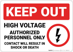 Keep Out High Voltage Authorized Personnel Only with Icon Landscape - Wall Sign