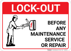 Lock Out Before Any Maintenance with Icon Landscape - Wall Sign