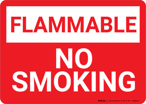 Flammable No Smoking Red Landscape - Wall Sign