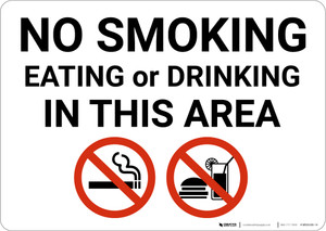No Smoking Eating Or Drinking In Area with Icons Landscape - Wall Sign
