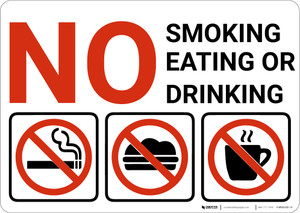 No Smoking Eating Or Drinking with Icons Red Landscape - Wall Sign
