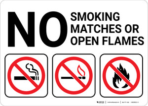 No Smoking Matches Or Open Flames with Icons Landscape - Wall Sign