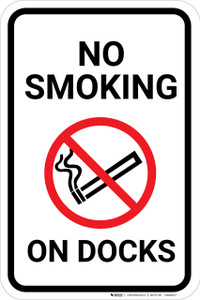 No Smoking On Docks with Icon Portrait - Wall Sign