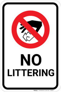 No Littering with Icon Portrait - Wall Sign