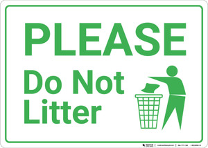 Please Do Not Litter with Icon Landscape - Wall Sign